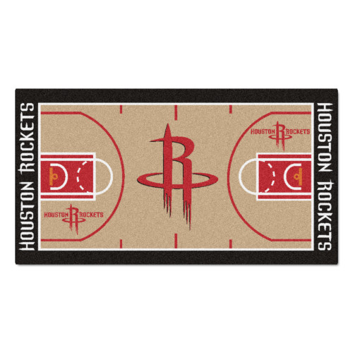 """29.5"""" x 54"""" Beige and Red NBA Houston Rockets Court Large Mat Area Rug Runner - IMAGE 1"""