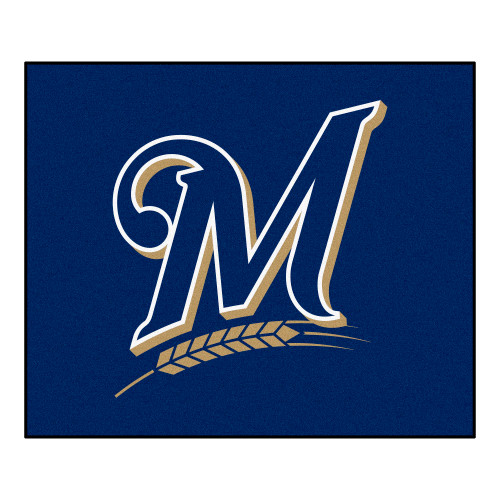 """59.5"""" x 71"""" Blue and Brown MLB Milwaukee Brewers Rectangular Outdoor Tailgater Mat Area Rug - IMAGE 1"""