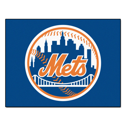 """33.75"""" x 42.5"""" Blue and Orange MLB New York Mets Rectangular All-Star Mat Outdoor Area Rug - IMAGE 1"""