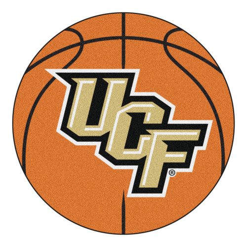 """27"""" Orange and Beige Contemporary NCAA University of Central Florida Knights Basketball Round Mat - IMAGE 1"""