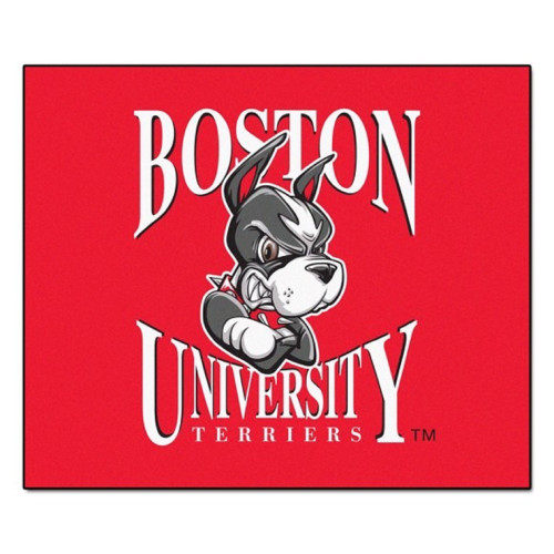 """59.5"""" x 71"""" Red and White NCAA Boston University Terriers Tailgater Mat Area Rug - IMAGE 1"""
