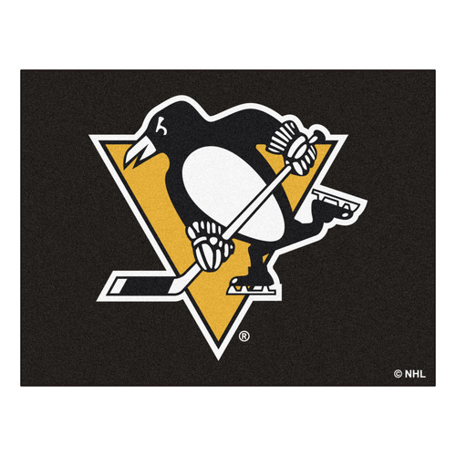 """33.75"""" x 42.5"""" Black and White NHL Pittsburgh Penguins All Star Non-Skid Mat Rectangular Area Rug - IMAGE 1"""