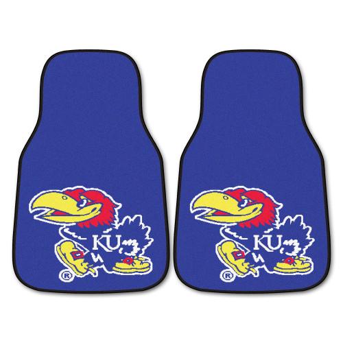 "Set of 2 Blue and Red NCAA University of Kansas Jayhawks Front Carpet Car Mats 17"" x 27"" - IMAGE 1"
