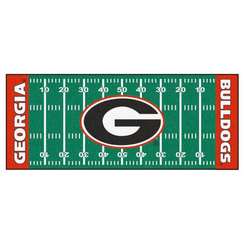 "30"" x 72"" Green and Red NCAA University of Georgia Bulldogs Football Field Runner Area Rug - IMAGE 1"
