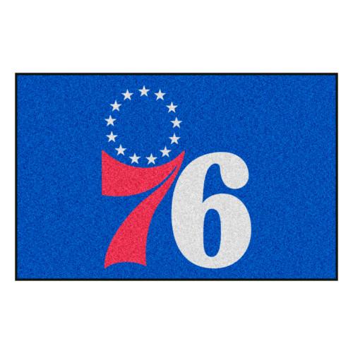 "19"" x 30"" Blue and White NBA 76 Starter Mat Rectangular Area Rug - IMAGE 1"