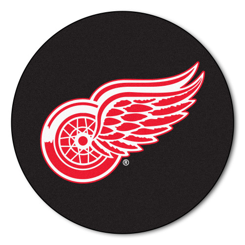 """27"""" Black and Red NHL Detroit Wings Puck Round Doormat - IMAGE 1"""