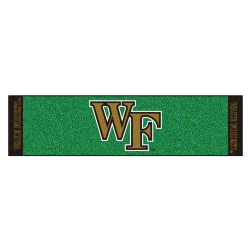 """18"""" x 72"""" Green and Ivory NCAA Wake Forest University Demon Deacons Putting Welcome Door Mat - IMAGE 1"""