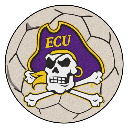 "27"" Purple and White NCAA East Carolina University Pirates Soccer Ball Round Mat - IMAGE 1"