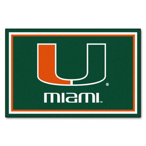 4.9' x 7.3' Green and Orange NCAA University of Miami Hurricanes Plush Rectangular Area Rug - IMAGE 1