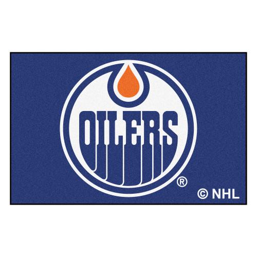 "19"" x 30"" Blue and White NHL Edmonton Oilers Starter Rectangular Welcome Door Mat - IMAGE 1"