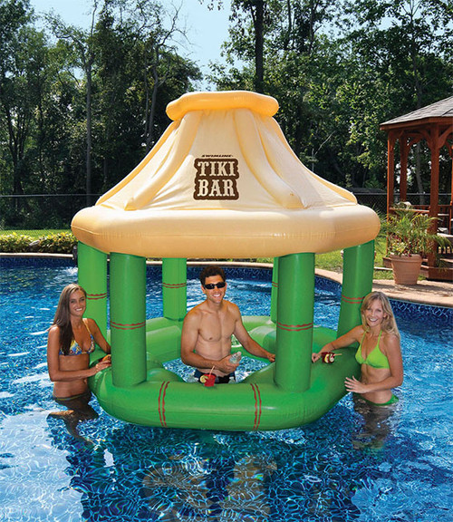 Inflatable Floating Tropical Tiki Bar for Swimming Pool, 7.5-Feet - IMAGE 1