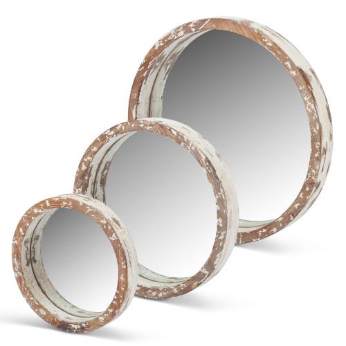 "Set of 3 Cream White Worn Rimmed Round Mirrors 20.25"" - IMAGE 1"
