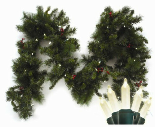9' Pre-Lit LED Battery Operated Anchorage Fir Christmas Garland - Warm White Lights - IMAGE 1