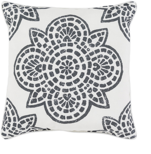 """16"""" White and Black Contemporary Digitally Printed Square Outdoor Throw Pillow - IMAGE 1"""