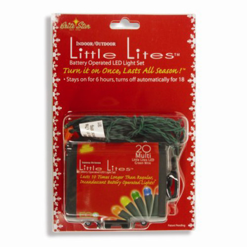 Set of 20 Bright Multi-Color LED Micro Rice Christmas Lights - 7.3 ft Green Wire - IMAGE 1