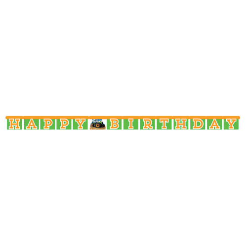 """Club Pack of 12 Green and Orange Tractor """"Happy Birthday"""" Jointed Banners 5.5"""" - IMAGE 1"""