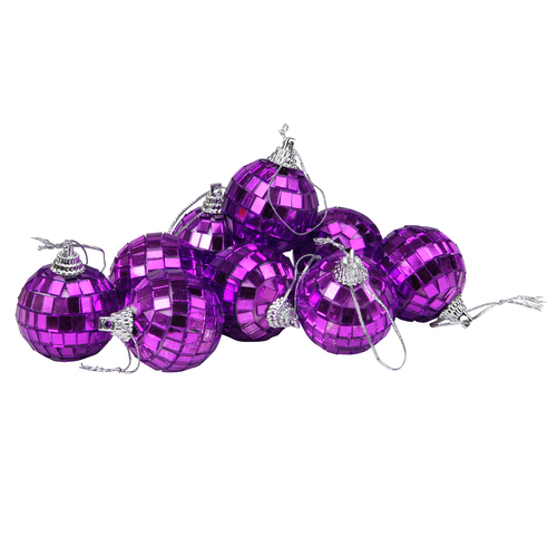 "9ct Purple Mirrored Glass Disco Ball Christmas Ornaments 1.5"" (40mm) - IMAGE 1"