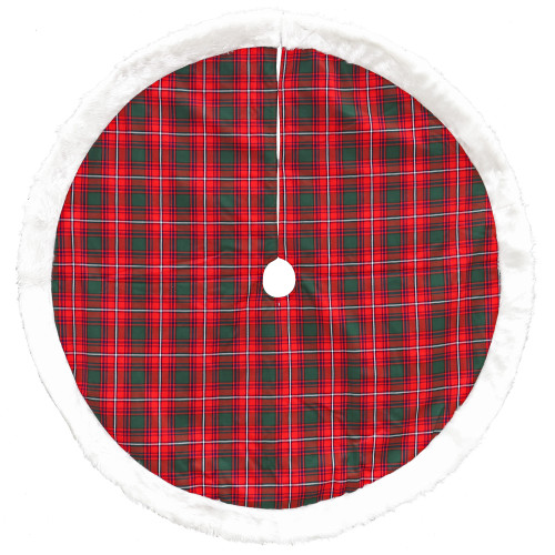 "48"" Red and White Plaid Border Christmas Tree Skirt - IMAGE 1"