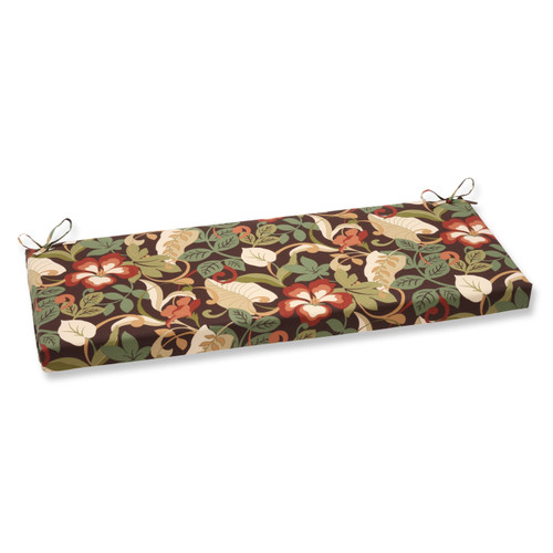 """45"""" Brown and Red Floral Outdoor Rectangular Bench Cushion - IMAGE 1"""