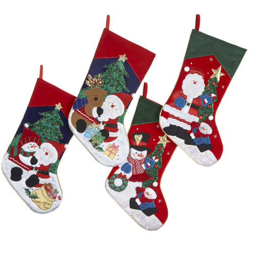 """Pack of 8 Embroidered Snowman and Reindeer Christmas Stockings 19"""" - IMAGE 1"""