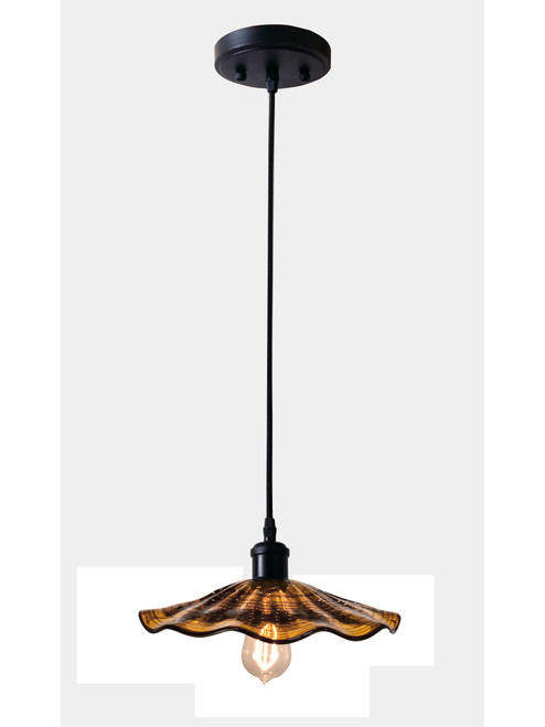 """48"""" Black and Brown Hand Blown Lighted Mini Pendant - IMAGE 1"""