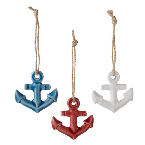 """Set of 3 Red, White and Blue Detailed Hanging Anchor Figures 2.3"""" - IMAGE 1"""