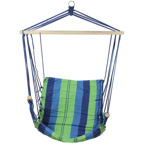 "37"" Green and Royal Blue Striped Outdoor Patio Hammock Chair with Armrests - IMAGE 1"