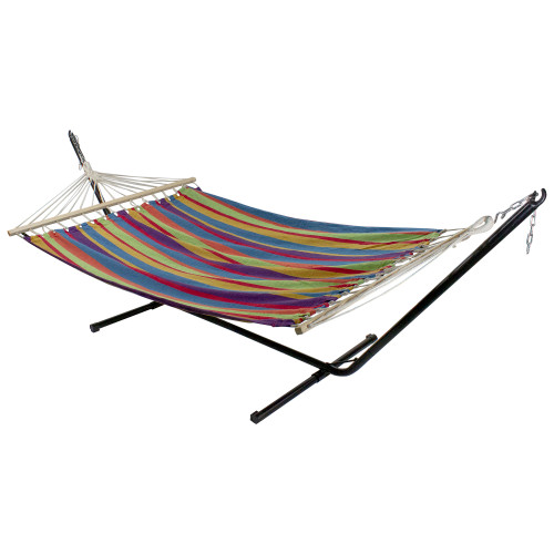 """77"""" Red and Green Striped Woven Double Hammock with Wooden Bars - IMAGE 1"""