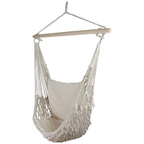 """46"""" Macramé Hammock Chair with Cream Cushion - IMAGE 1"""
