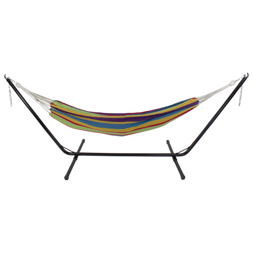 """72"""" Yellow and Blue Striped Woven Double Brazilian Hammock - IMAGE 1"""