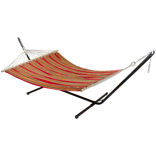 """75"""" Red and Pink Striped Poly Cotton Hammock - IMAGE 1"""