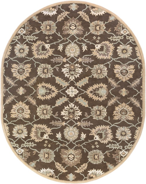 8' x 10' Brown Floral Pattern Oval Area Throw Rug - IMAGE 1