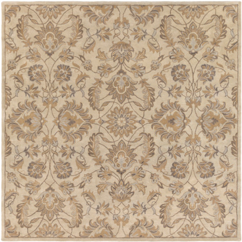 9.75' x 9.75' Brown and Gray Floral Pattern Hand-Tufted Square Area Throw Rug - IMAGE 1