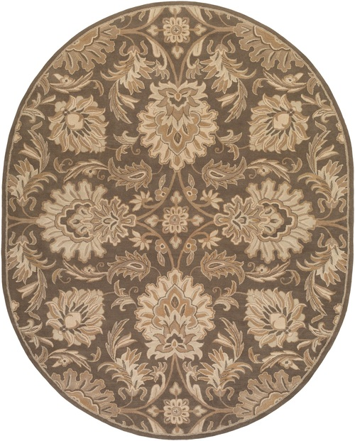 8' x 10' Brown and Tan Floral Pattern Oval Area Throw Rug - IMAGE 1