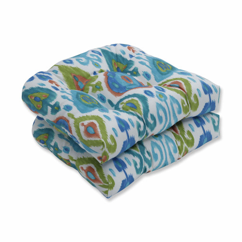 "Set of 2 Blue and Green Wicker Seat Cushions 19"" - IMAGE 1"