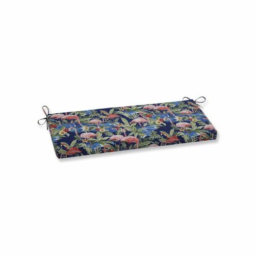 "45"" Flamingoing Lagoon Blue Decorative Bench Cushion - IMAGE 1"