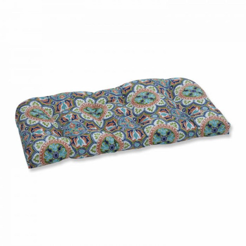 """44"""" Subtly Colored Damask Pattern Outdoor Patio Wicker Loveseat Cushion - IMAGE 1"""