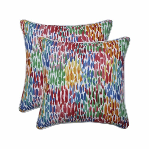 """Set of 2 Vibrantly Colored Contemporary Pattern Square Throw Pillows 18.5"""" - IMAGE 1"""