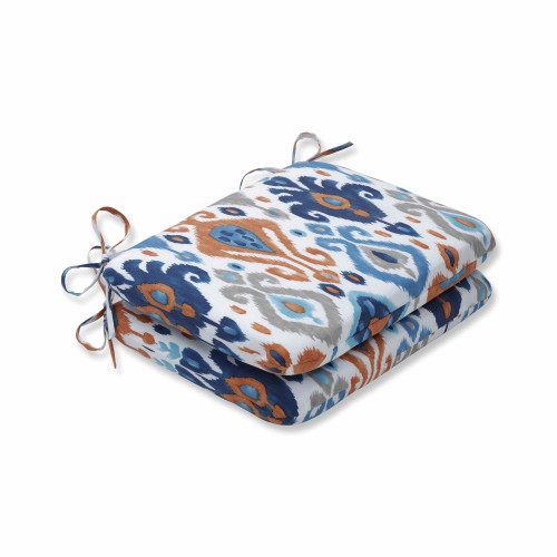 """Set of 2 Vibrantly Colored Ikat Pattern Rounded Corners Seat Cushions 18.5"""" - IMAGE 1"""
