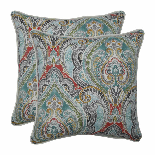 "Set of 2 Vibrantly Colored Damask Pattern Square Throw Pillows 18.5"" - IMAGE 1"