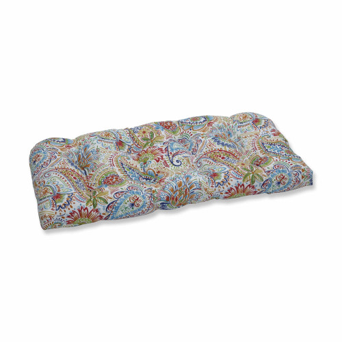 "44"" Vibrantly Colored Paisley Pattern Outdoor Patio Wicker Loveseat Cushion - IMAGE 1"