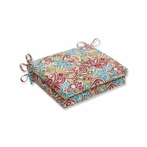 """Set of 2 Blue Contemporary Pattern Squared Corners Seat Cushion 18.5"""" - IMAGE 1"""