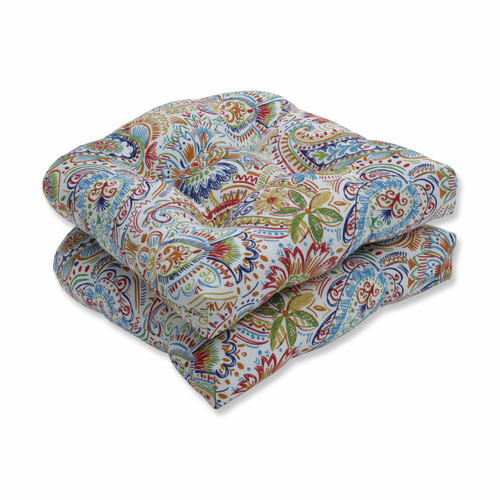 """Set of 2 Vibrantly Colored Paisley Pattern Outdoor Patio Wicker Seat Cushions 19"""" - IMAGE 1"""