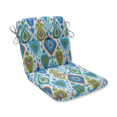"""40.5"""" Vibrantly Colored Ikat Pattern Outdoor Patio Chair Cushion - IMAGE 1"""