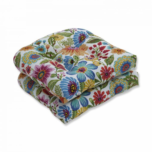 """Set of 2 Vibrantly Colored Floral Pattern Outdoor Patio Wicker Seat Cushions 19"""" - IMAGE 1"""