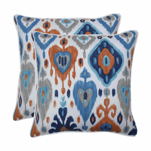 """Set of 2 Vibrantly Colored Ikat Pattern Square Throw Pillows 18.5"""" - IMAGE 1"""