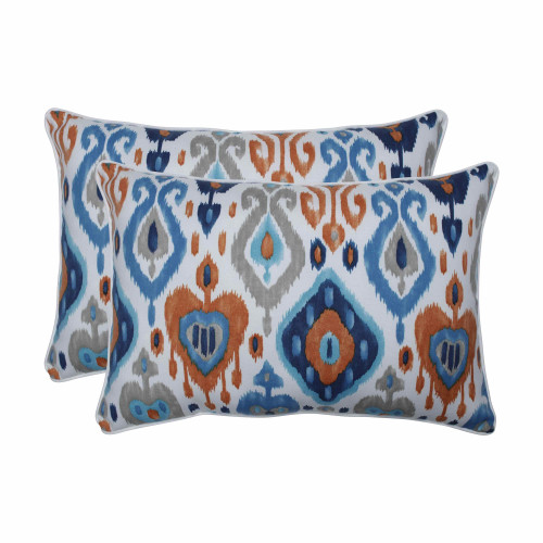 """Set of 2 Vibrantly Colored Ikat Pattern Over Sized Rectangular Throw Pillows 24.5"""" - IMAGE 1"""