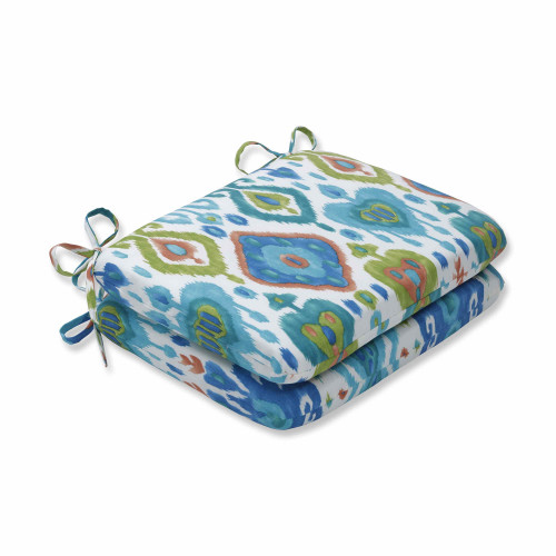 "Set of 2 Blue and Green Rounded Corners Seat Cushions 18.5"" - IMAGE 1"