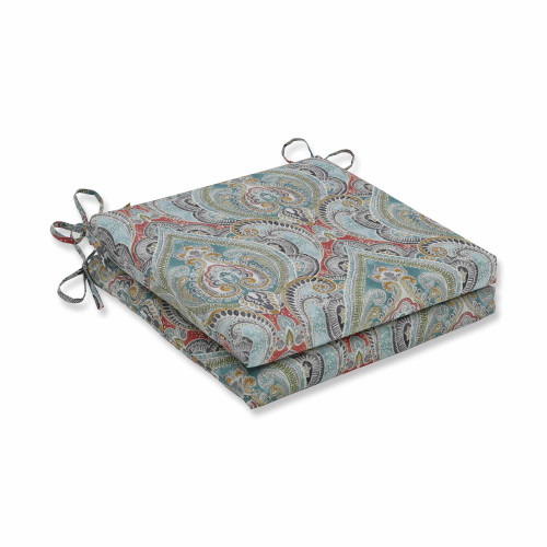 "Set of 2 Vibrantly Colored Damask Pattern Square Corners Seat Cushions 20"" - IMAGE 1"