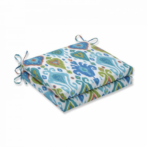 """Set of 2 Vibrantly Colored Ikat Pattern Squared Corners Seat Cushions 20"""" - IMAGE 1"""